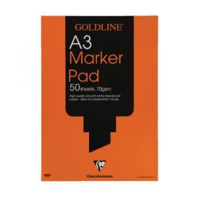 Clairefontaine Goldline A3 30 Sheet 70gsm Acid-Free Bleedproof Paper White Marker Pad GPB1A3