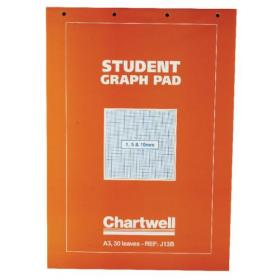 Chartwell A3 30 Sheet 70gsm Paper Graph Pad (1mm, 5mm and 10mm Square Ruled) J13B