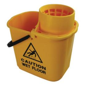 2Work Plastic Mop Bucket with Wringer 15 Litre Yellow 102946YL