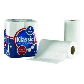 Klassic 2-Ply Kitchen Roll White (6 Packs of 4 Rolls) 1105090