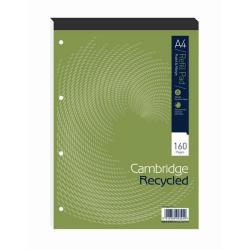 Cheap Stationery Supply of Cambridge (A4) Refill Pad Recycled 160 Pages 70g/m2 Headbound Punched 4-Holes Ruled Margin (Pack 5) 100080151 Office Statationery