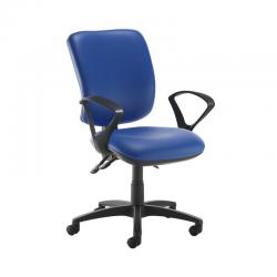 Cheap Stationery Supply of Senza high back operator chair with fixed arms - Ocean Blue vinyl Office Statationery