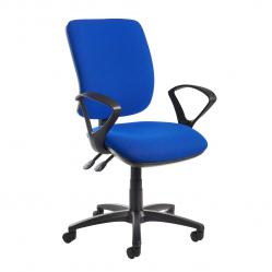 Cheap Stationery Supply of Senza high back operator chair with fixed arms - blue Office Statationery