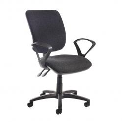 Cheap Stationery Supply of Senza high back operator chair with fixed arms - charcoal Office Statationery