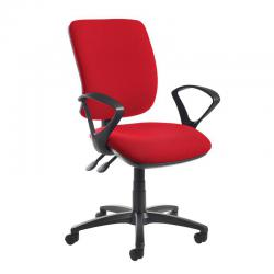 Cheap Stationery Supply of Senza high back operator chair with fixed arms - red Office Statationery