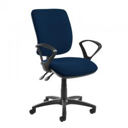 Cheap Stationery Supply of Senza high back operator chair with fixed arms - Costa Blue Office Statationery