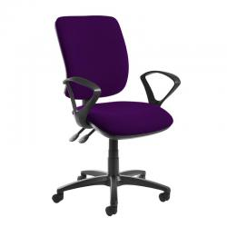 Cheap Stationery Supply of Senza high back operator chair with fixed arms - Tarot Purple Office Statationery