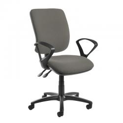 Cheap Stationery Supply of Senza high back operator chair with fixed arms - Slip Grey Office Statationery