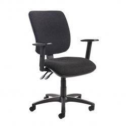 Cheap Stationery Supply of Senza high back operator chair with adjustable arms - charcoal Office Statationery