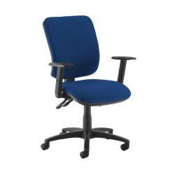 Cheap Stationery Supply of Senza high back operator chair with adjustable arms - Curacao Blue Office Statationery