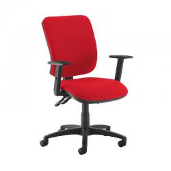 Cheap Stationery Supply of Senza high back operator chair with adjustable arms - Panama Red Office Statationery
