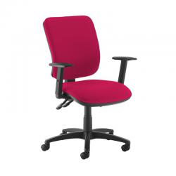 Cheap Stationery Supply of Senza high back operator chair with adjustable arms - Diablo Pink Office Statationery
