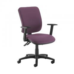 Cheap Stationery Supply of Senza high back operator chair with adjustable arms - Bridgetown Purple Office Statationery