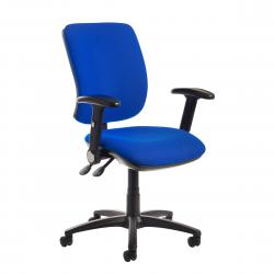 Cheap Stationery Supply of Senza high back operator chair with folding arms - blue Office Statationery