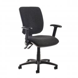 Cheap Stationery Supply of Senza high back operator chair with folding arms - charcoal Office Statationery