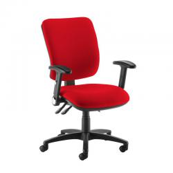 Cheap Stationery Supply of Senza high back operator chair with folding arms - Panama Red Office Statationery