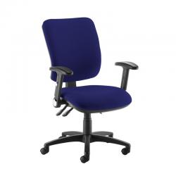 Cheap Stationery Supply of Senza high back operator chair with folding arms - Ocean Blue Office Statationery