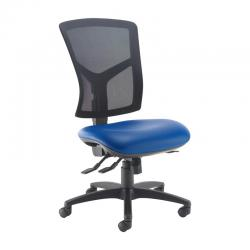 Cheap Stationery Supply of Senza high mesh back operator chair with no arms - Ocean Blue vinyl Office Statationery