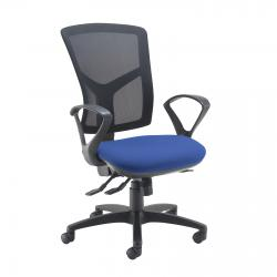 Cheap Stationery Supply of Senza high mesh back operator chair with fixed arms - blue Office Statationery