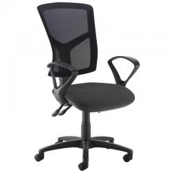 Cheap Stationery Supply of Senza high mesh back operator chair with fixed arms - black Office Statationery