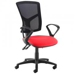 Cheap Stationery Supply of Senza high mesh back operator chair with fixed arms - red Office Statationery