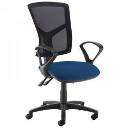 Cheap Stationery Supply of Senza high mesh back operator chair with fixed arms - Costa Blue Office Statationery
