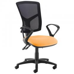 Cheap Stationery Supply of Senza high mesh back operator chair with fixed arms - Solano Yellow Office Statationery