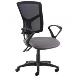 Cheap Stationery Supply of Senza high mesh back operator chair with fixed arms - Blizzard Grey Office Statationery