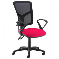 Cheap Stationery Supply of Senza high mesh back operator chair with fixed arms - Diablo Pink Office Statationery