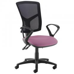 Cheap Stationery Supply of Senza high mesh back operator chair with fixed arms - Bridgetown Purple Office Statationery