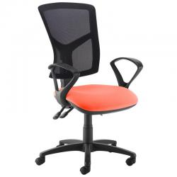 Cheap Stationery Supply of Senza high mesh back operator chair with fixed arms - Tortuga Orange Office Statationery