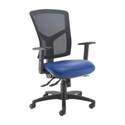 Cheap Stationery Supply of Senza high mesh back operator chair with adjustable arms - Ocean Blue vinyl Office Statationery