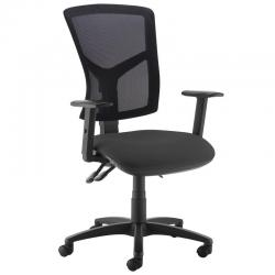 Cheap Stationery Supply of Senza high mesh back operator chair with adjustable arms - black Office Statationery