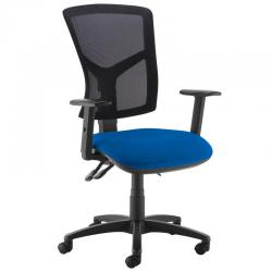 Cheap Stationery Supply of Senza high mesh back operator chair with adjustable arms - Curacao Blue Office Statationery