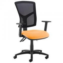 Cheap Stationery Supply of Senza high mesh back operator chair with adjustable arms - Solano Yellow Office Statationery