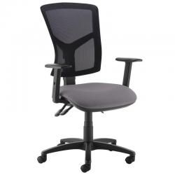 Cheap Stationery Supply of Senza high mesh back operator chair with adjustable arms - Blizzard Grey Office Statationery