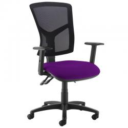 Cheap Stationery Supply of Senza high mesh back operator chair with adjustable arms - Tarot Purple Office Statationery