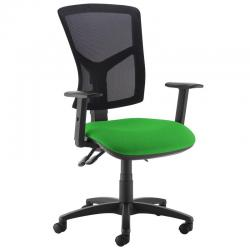 Cheap Stationery Supply of Senza high mesh back operator chair with adjustable arms - Lombok Green Office Statationery