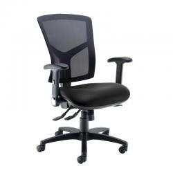 Cheap Stationery Supply of Senza high mesh back operator chair with folding arms - Nero Black vinyl Office Statationery