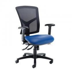 Cheap Stationery Supply of Senza high mesh back operator chair with folding arms - Ocean Blue vinyl Office Statationery