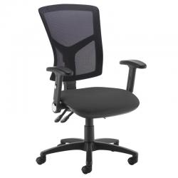 Cheap Stationery Supply of Senza high mesh back operator chair with folding arms - black Office Statationery