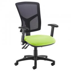 Cheap Stationery Supply of Senza high mesh back operator chair with folding arms - green Office Statationery