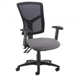 Cheap Stationery Supply of Senza high mesh back operator chair with folding arms - Blizzard Grey Office Statationery