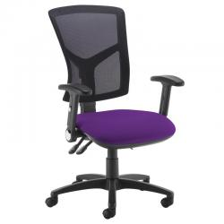 Cheap Stationery Supply of Senza high mesh back operator chair with folding arms - Tarot Purple Office Statationery