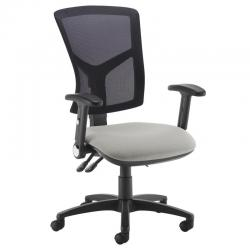 Cheap Stationery Supply of Senza high mesh back operator chair with folding arms - Slip Grey Office Statationery