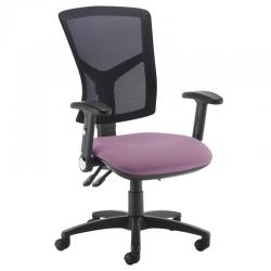 Cheap Stationery Supply of Senza high mesh back operator chair with folding arms - Bridgetown Purple Office Statationery