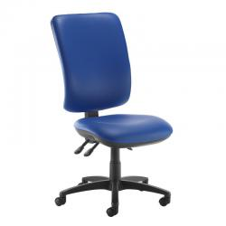 Cheap Stationery Supply of Senza extra high back operator chair with no arms - Ocean Blue vinyl Office Statationery