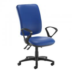 Cheap Stationery Supply of Senza extra high back operator chair with fixed arms - Ocean Blue vinyl Office Statationery