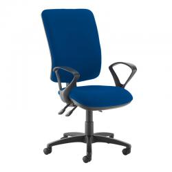 Cheap Stationery Supply of Senza extra high back operator chair with fixed arms - Curacao Blue Office Statationery