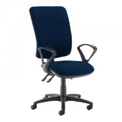 Cheap Stationery Supply of Senza extra high back operator chair with fixed arms - Costa Blue Office Statationery
